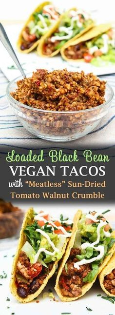 "Loaded Black Bean Tofu Tacos with ""Meatless"" Walnut Crumble - Vegetarian Gastronomy Vegan Dinner Recipes, Delicious Vegan Recipes, Veggie Recipes, Mexican Food Recipes, Whole Food Recipes, Vegetarian Recipes, Cooking Recipes, Healthy Recipes, Vegetarian Tacos"