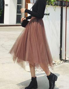 Girls Fashion Clothes, Teen Fashion Outfits, Mode Outfits, Girl Fashion, Girl Outfits, Fashion Dresses, Cute Fashion, Long Skirt Fashion, Long Skirt Outfits