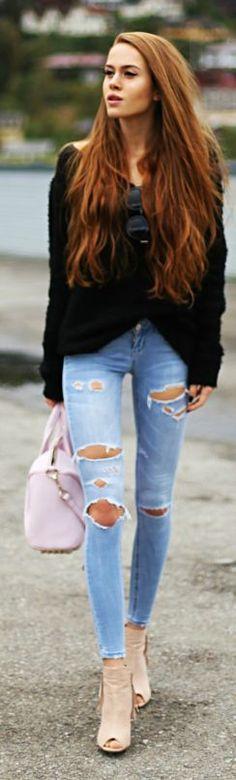 Kristine Ullebo Black Comfy Sweater Fall Inspo