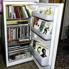 Turn Your Fridge Into Bookshelves And Whenever Youre Hungry Feed On Ideas Instead Of Packing Pounds I Know Theyre Trying For Satire