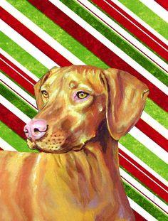 Vizsla Candy Cane Holiday Christmas Flag Canvas House Size