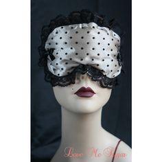 771e872ff073f Boudoir Sleep mask Eyemask Sleeping Eye mask Retro Inspired Cream Satin  black Spots - Bailie - Love Me Sugar. Gigi Light