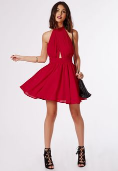 Cia Chiffon Keyhole Puff Ball Skater Dress Red - Dresses - Missguided