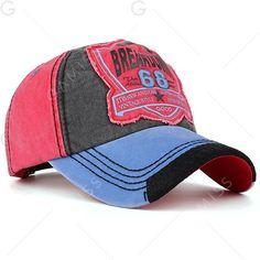 188ff091c84 Washed Sanding Nostalgic Letters Patchwork Baseball Hat - PLUM Hats Online