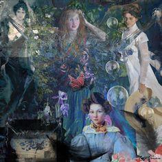 Portraits de femmes Using Distressed + Dots + Fancy words + Dark Feathers + Imagine by teddi
