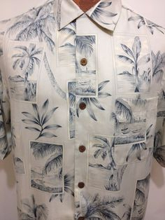 Tommy Bahama Blue Ivory Postcards Palm Trees Hawaiian Short Sleeve Silk Shirt S #TommyBahama #Hawaiian