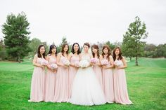 bridesmaids in full length blush pink dresses | www.closertolovephotography.com