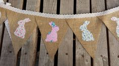 Easter bunny banner, burlap easter bunting, found on Etsy