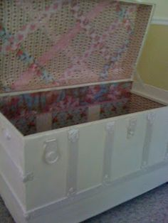 Painted and wall papered vintage trunk