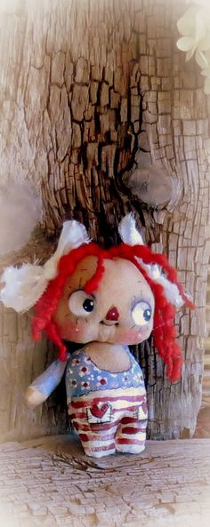 Primitive Raggedy Anne hand painted cloth doll by suziehayward, $59.95