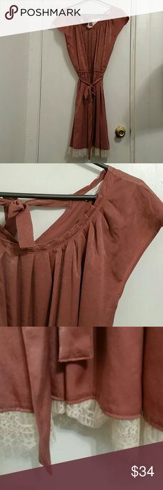 NWT Lauren Conrad marsala lace trim dress sz L Brand new with tags! Silky belted dress with off white lace trim from Lauren Conrad. New condition. Size large. LC Lauren Conrad Dresses Midi
