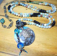 """TURTLE BLUES Long Bangle Gemstone Necklace Adjustable 40""""/48"""" Amazonite/Black Ox Bone Hippie Chic  Artisan Jewelry Bracelets of Blue Ridge"""