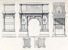 Elevations and sections of the Arch of Titus, Rome
