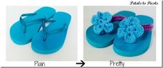 Deborah Williams - thought this was a clever idea for you.  Make Crocheted Flower Flip Flops
