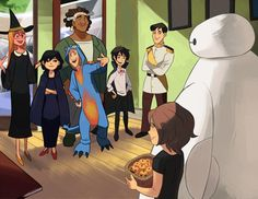 Big Hero 6 on what seems to be Halloween. Rocking that outfit, Tadashi!