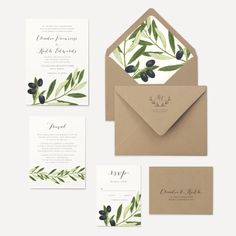 Olive Branch Wedding Invitation Olive Leaves by oakandorchid
