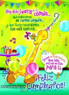 Jirafa Vera festejando cumpleaños© ZEA www.tarjetaszea.com
