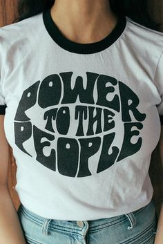 Power to the People Black Ringer Tee