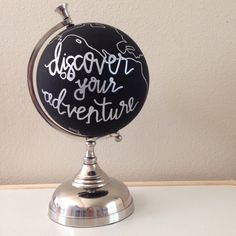 Discover your adventure Hand painted globe chalk board by DovieLou
