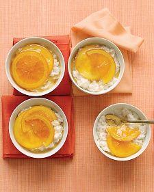 Vanilla Rice Puddings with Glazed Oranges - Martha Stewart Recipes