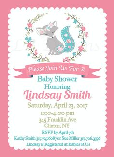 Girl Woodland Baby Shower Invites Coral and Teal Invitations