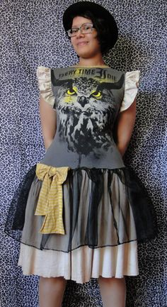 band t-shirt into a dress - I have so much to learn about sewing/re-making.