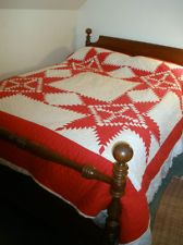 Antique 1930's RED & WHITE QUILT Sawtooth STAR PATTERN Cotton HAND Quilted, eBay, gwennoren3ong