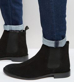 Asos Wide Fit Chelsea Boots in Black Suede