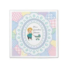 Pastel Quilt Grandma Baby Shower Party Napkins Paper Napkin