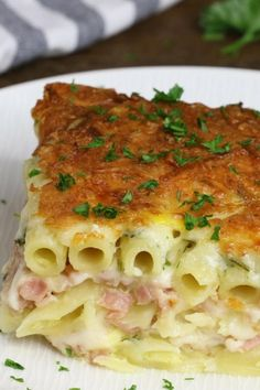 Layered Ham And Cheese Pasta Bake – creamy and cheesy layered penne pasta, ham and Swiss cheese baked in the heavy cream and eggs mix. Perfect dinner for a hungry crowd! Quick and easy dinner recipe pasta pasta pasta pasta bake recipes rezepte sauce Tasty Videos, Food Videos, Cooking Videos Tasty, Ham And Cheese Pasta, Ham And Cheese Casserole, Baked Cheese, Easy Dinner Recipes, Easy Meals, Cream Cheese Recipes Dinner