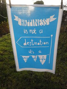 Happiness  Screen printed tea towel by Sarah Majury by WhiteHartCo, £8.00