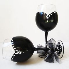 The Audrey Collection black and white wine glasses