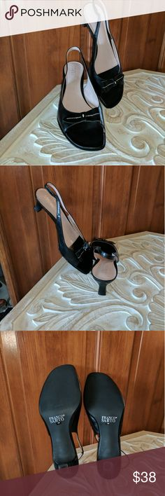Franco Sarto Black Slingback Heeled Sandals Worn once and nearly perfect condition, Franco Sarto black leather slingback heels with small bow detail on forefoot.  Square toe style with soft pink innersole.  Soles like new. Questions welcome. Franco Sarto Shoes Sandals