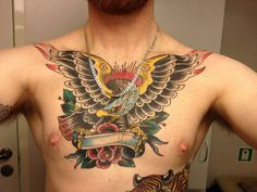 Chest Eagle by Scott Sylvia Eagle Chest Tattoo, Eagle Tattoos, Epic Tattoo, Tattoo You, Neo Traditional Tattoo, American Traditional, Inspiring Tattoos, Sparrow Tattoo, Tattoo Addiction