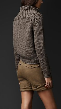 Chunky Knit Funnel Neck Sweater   Burberry