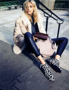 a favorite look of mine: party pants, leopard flats, and a fur coat