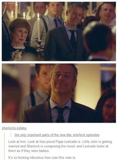 THIS IS TOO CUTE OMIGOD LESTRADE HE IS SO PROUD I WANNA GIVE THE GUY A HUG <<< PAPA LESTRADE!!!
