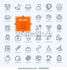 Thin lines web icon set - pet, vet, pet shop, types of pets  - stock vector