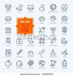 Thin lines web icon set - pet, vet, pet shop, types of pets  - stock vector
