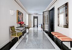 Find home décor inspiration at Architectural Digest. Everything you'll need to design each and every room in your house, from the kitchen to the master suite. Design Entrée, Hall Design, Floor Design, House Design, Marble Design Floor, Lobby Design, Carpet Design, Design Ideas, Architectural Digest