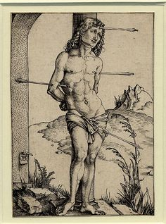 engraving (scope note | all objects) Production person Print made by Albrecht Dürer (biographical details | all objects) Date 1501 Schools /Styles German (scope note | all objects) Description St Sebastian, tied to a column and pierced by four arrows. c.1501 Engraving