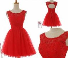 Famous boat neck sleeveless red prom dress,tulle and lace cocktail dress,short prom gown,open back evneing party dress,homecoming dress