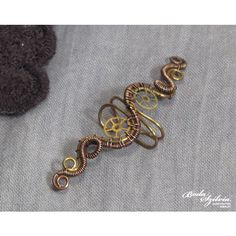 STEAMPUNK EAR CUFF wire wrapped ear cuff, copper and brass ear cuff,... (26 CAD) ❤ liked on Polyvore featuring jewelry, bracelets, cuff bangle, ear cuff jewelry, adjustable bangle, cuff jewelry and copper wire wrapped jewelry