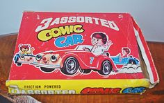 Two Vintage Friction Powered Comic Cars, One Tin Litho Friction Penny Toy Crown Car Vintage Toys, Tin, Elephant, Crown, Japan, Cars, Comics, How To Make, Tin Metal