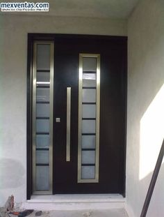 puertas minimalistas para interiores | inspiración de diseño de interiores Flush Door Design, Front Door Design, Gate Design, Porch Designs Uk, Aluminium Front Door, Modern Entry Door, Porch Entry, Flush Doors, Contemporary Doors