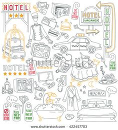 Hotel Vector Drawings Collection. Services and facilities - bedroom, bathroom, room service, breakfast, bellboy, mini bar, hair dryer, bath coat, taxi, luggage cart. Isolated on white background
