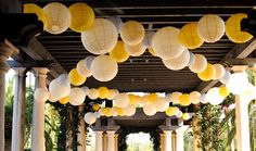 yellow and gray party decorations
