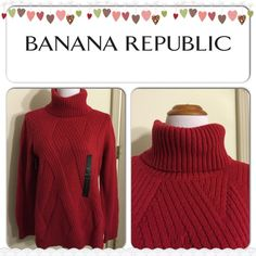 2016 SALE HP Turtle Neck Sweater Color: red. Turtle neck, long back style, slits on the side. 60% cotton, 40% nylon. Banana Republic Tops