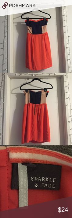 Orange & navy strapless UO dress size small Strapless navy, tan and orange dress from Urban Outfitters. Size small. Sparkle & Fade Dresses Strapless