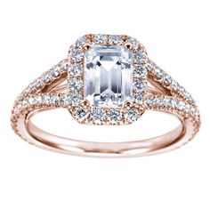 14k Rose Gold Diamond Halo with Emerald Cut by GerryTheJeweler, $2190.00